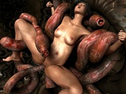 Pregnant 3d woman screwed by horny tentacles
